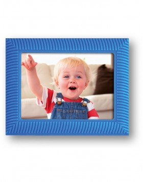 Kids photo frame in blue rubber for image format 5x7 cm