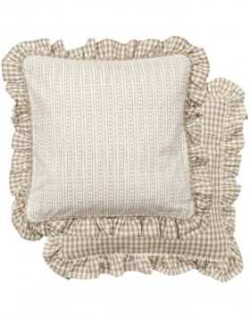 Kissen Just Check Flower 40x40 cm beige
