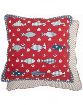Pillow red SEA LIFE unfilled 50x50 cm