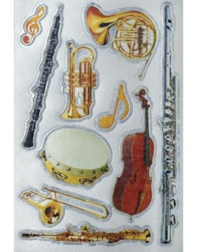 MAGIC decorative labels brass instruments, silk 1 sheet
