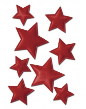 Decorative stickers MAGIC Weihnachten stars red, fabric 1 sh