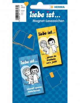 Liebe ist ... Magnetic bookmarks - blue/yellow