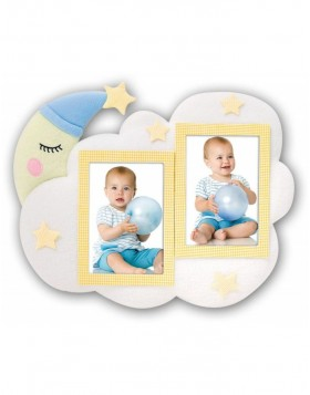 NOTTE Fabric photo frame baby 2 pictures 10x15 cm