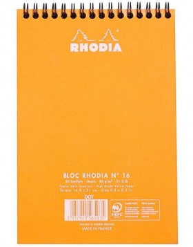 Note Pad mit Doppelspirale Rhodia, DIN A5 orange