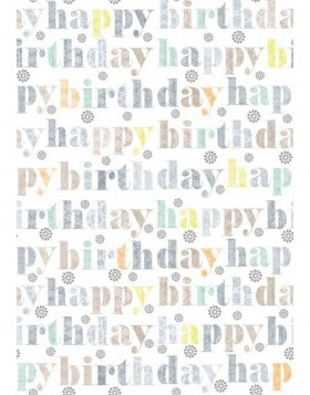 Papier 70x100 cm Happy Birthday taupe