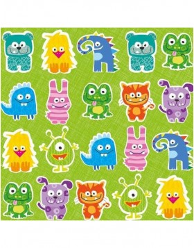 Papier-Servietten 33x33 cm Little Monster gr�n