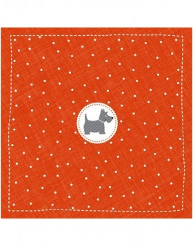 Papier-Servietten 33x33 cm Scotch Terrier Mini rot