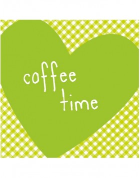 Papier-Servietten Herz/coffee time/gr�n