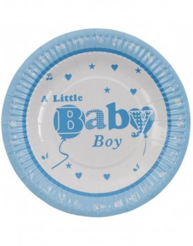 paper plate BABY BOY Ø 18 cm light-blue