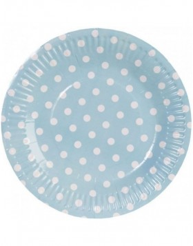paper plate DOTS  Ø 18,5 cm light blue