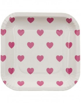 paper plate HEARTS cm white/pink 15x15 cm