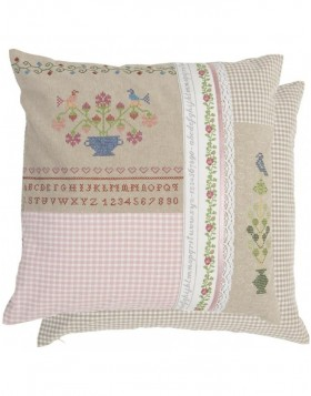 Patchwork cushion embroidery look colorful 50x50 cm