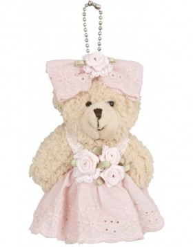 plush teddy with hanger 6 cm pink