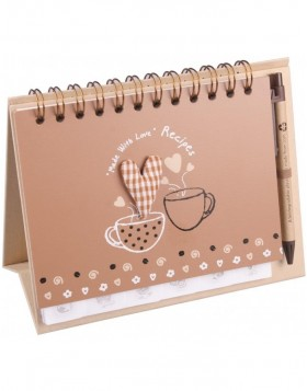 Recipe book MORNING with pen - light brown