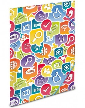 Elasticated folder A4 Social Icons PP