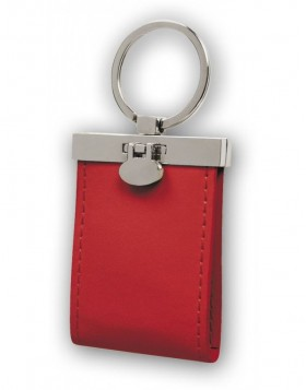 Keychain 2 Photos leather red