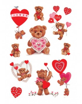 decorative labels DECOR Classic Teddy  embossed, red