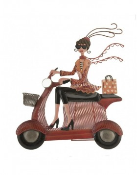 Jewelry holder lady on scooter colorful 31x9x34 cm