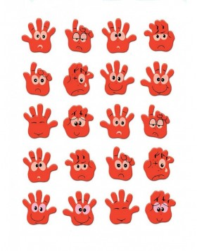 Neon stickers HANDS - 1 sheet