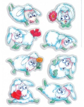 decorative labels Sheep - moving eyes