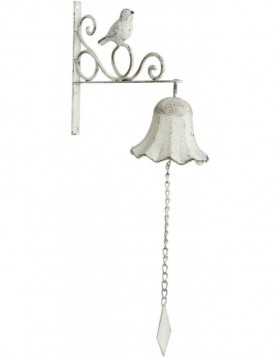 Shabby doorbell white with bird 24x49 cm