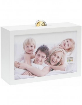 Moneybox white for 1 picture 10x15 cm