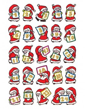 DECOR stickers Christmas Advents cal. paper gold emb. 2 sh.