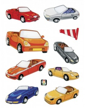 Decorative labels MAGIC cars, stone 1sh.