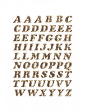 Letters 8mm A-Z prismatic film gold glittery 1 sheet