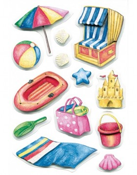 bunte 3D-Sticker Strandmotive der Serie MAGIC