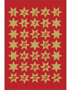 DECOR stickers stars 14mm gold foil with digits 1-24 3 sh.