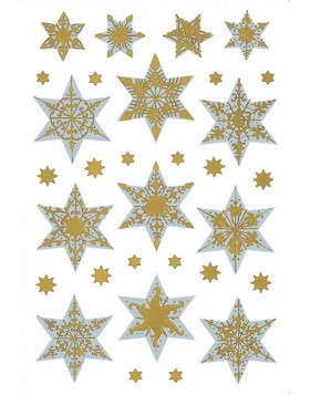 DECOR stickers stars foil silver/gold engraved 1 sheet