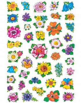 decorative labels DECOR Kleine Blumenköpfe 3 sheets