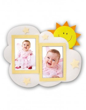 Fabric photo frame baby GIORNO 2 photos 10x15 cm