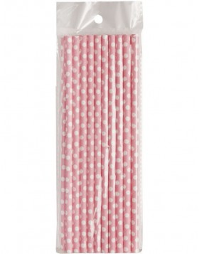 straws DOTS  20 pieces pink