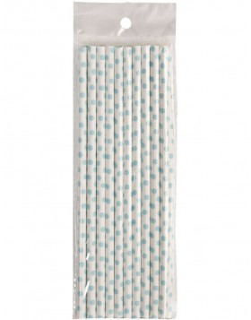 straws DOTS  20 pieces white