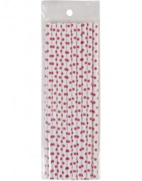 straws DOTS 20 pieces white/pink
