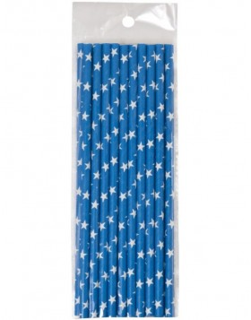 straws 20 pieces blue