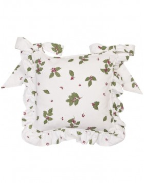 Chair cushions with frills Holly Leaves 40x40 cm