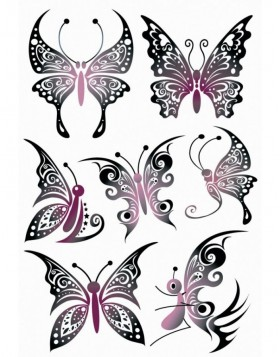 Tattoos Black Art Butterflies 1 sheet