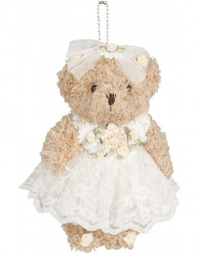 20 cm plush teddy white dress