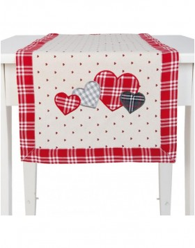 HEARTS II table runner rot - 40x120 cm