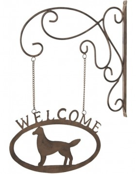 6Y1374 doorplate Welcome/Dog made of iron