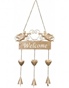 golden doorplate Welcome 22x48 cm