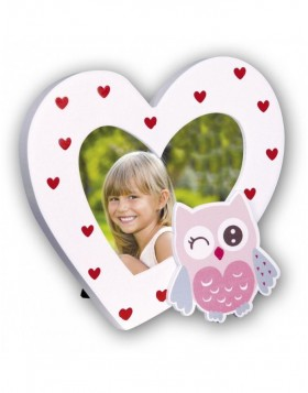 VIOLA photo frame heart with owl 9x9 cm