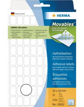 Multi-purpose labels 10x16 mm Movables/removable white...