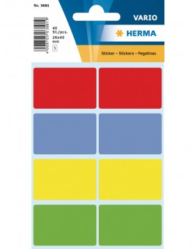 Multi-purpose labels 26x40 mm colours assorted 40 pcs.