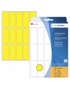 Multi-purpose labels 20x50 yellow 480 pcs.