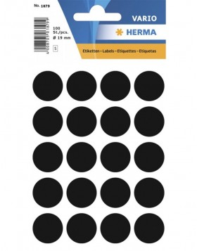 Multi-purpose labels � 19mm black 100 pcs.