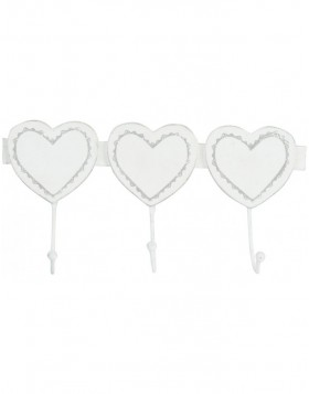 Wall Hook 3 hearts 28x14x6 cm white